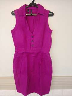 Mango Linen Pink Dress