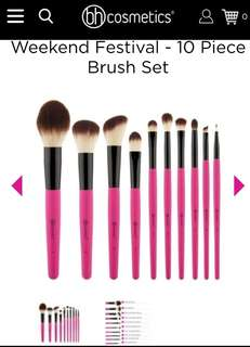 🚚 BH Cosmetics Weekend Festival 10 Piece Brush Set