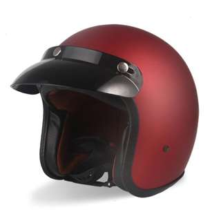 Matte Red Motorcycle Helmet Open Face Three Button Snap Retro Vintage Vespa Scooter Cafe Racer Motorbike Leather Gloss Old School Harley Davidson