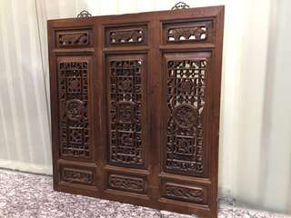 🚚 Old Chinese Carved Wooden Screen with Mirror backing #CarouPay