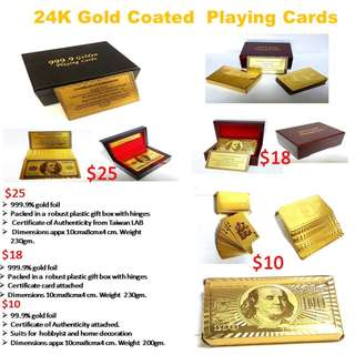 24K Gold plated playing card sets