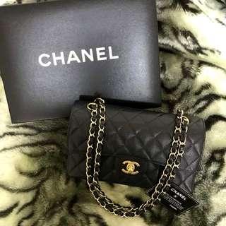 Vintage Chanel黑色魚子醬金扣2.55 classic flap bag 23cm