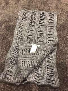 Country Road Grey Knitted Scarf - Wool / Acrylic / Alpaca