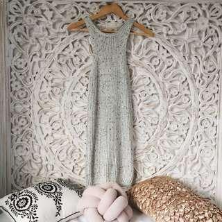 Knit Midi Dress Grey Marle