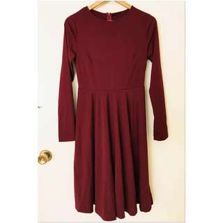Burgundy Pleated Long Sleeve A-Line Dress