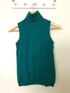 MNG Basics Green Sleeveless Turtleneck Top