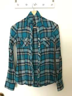 Green Checkered Long Sleeved Shirt