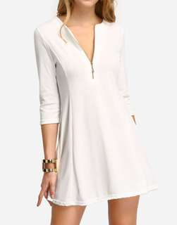White Zipper A-Line Dress