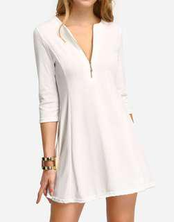 White Zipper A-Line Dress