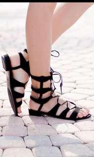 Black Lace Up Gladiator Sandals