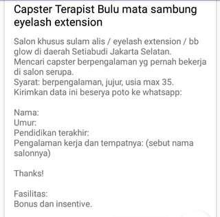 Lowongan Capster Eyelash Extension