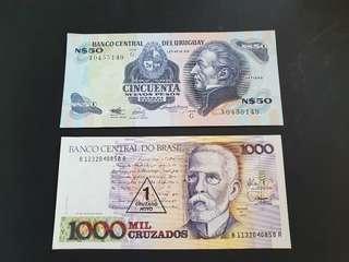 2 Banknotes - Uruguay 50 pesos & Brasil 1000 Mil Cruzados