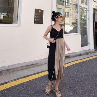 韓國風格黑米拼接百摺連身洋裝裙