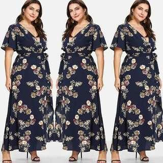 🌸floral Plus size wrap dress