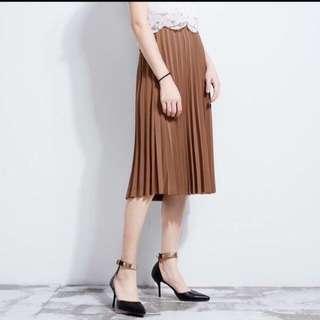 Pleated Skirt Brown Hutz Fashion