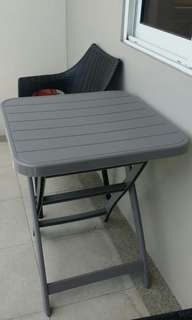 Grey Plastic Foldable Table and 2 Chairs