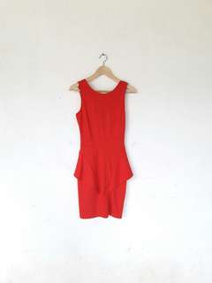 Stradivarius Red Peplum Dress