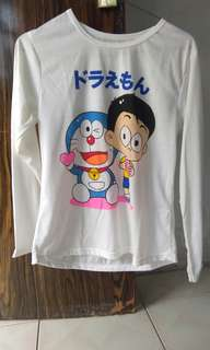 Kaos Doraemon Nobita Putih