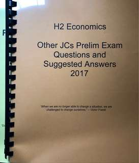 H2 Economics 2017 Prelim Exam Questions and Answers