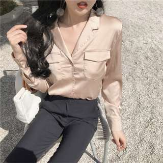 SATIN LONG SLEEVED SHIRT WITH FRONT POCKETS
