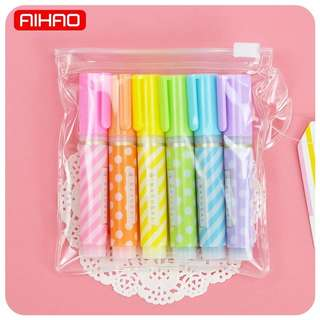 (Pre-order) 6 pcs Polka Dot Highlighters (with clear Ziplock bag)