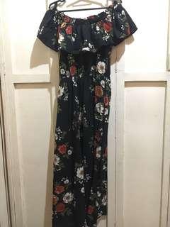 Floral Long Dress Off shoulder