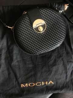 Mocha Brand New Unused Satchel Crossbody Bag Black Gold