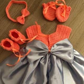 🚚 Crochet baby girls dress set