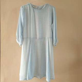 White Blue Women's Dress