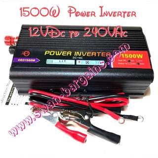 1500W High Power Portable Car Van Minibus Bike Voltage Inverter 12V DC To 220V AC Transformer USB Port Output