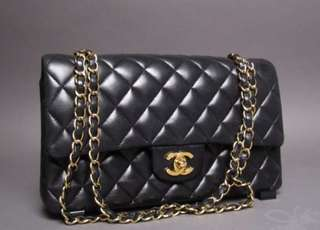 Chanel double flap caviar leather black and gold bag