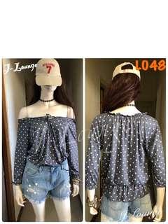 🚚 L048韓系甜美百搭混搭美式休閒氣質文青小清新點點高冷T恤