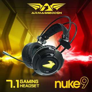 Online Exclusive [ Armaggeddon NUKE 9 ] ULTIMATE 7.1 SURROUND Sound Gaming Headset Extra Large 50mm Drivers / Omnidirectional Mic / Vegan Leather Ear Cushion.Strong Bass Line Local Warranty!