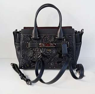 Coach 11854 Swagger 27 Tea Rose Tooling Leather Satchel Black