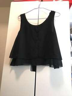 黑色背心 短身背心 雪紡 black top vest