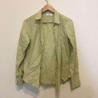 🚚 UNIQLO亞麻蘋果綠襯衫