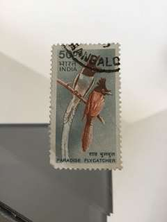 Indian 50rs paradise flycatcher stamp