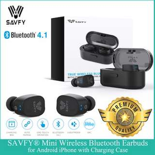 SAVFY® Twins Mini Wireless Bluetooth Sport Earbuds Earphone with Charging Box for iPhone Android