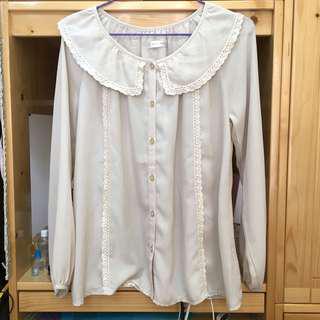 日本Collect Point Lowrys Farm杏色雪紡襯衫上衣 Chiffon Top
