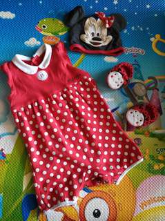 mothercare minnie mouse rompers set