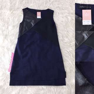 VL5959 Something borrowed navy black leather dress