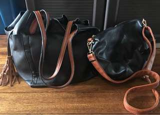 2 Way Soft Leather Bag with Removable Sling Bag