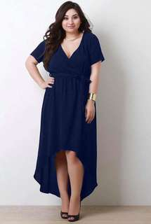 Waisted Long Back Plus Size Dress