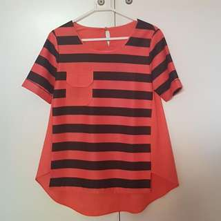 Black Orange Stripes Top