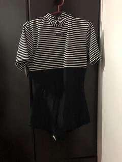 One piece stripe swim suit