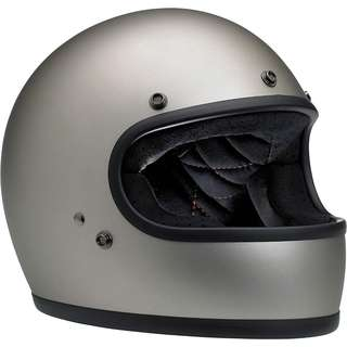 Biltwell Gringo SIZE MEDIUM ONLY Full Face Motorcycle Motorbike Cafe Racer Classic Retro Helmet Titanium Silver Grey