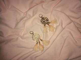 Gold and Peach Tassel Earrings