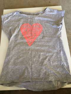 Grey T-Shirt With Pink Heart