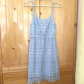H&M Lace Dress 淺藍色蕾絲吊帶連身裙