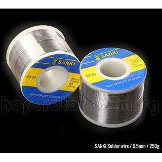🚚 SANKI 0.5mm Lead Solder Wire, 250g, Sn60/Pb40 soldering wick welding wire. Made in Japan. Code: SANKI-0.5